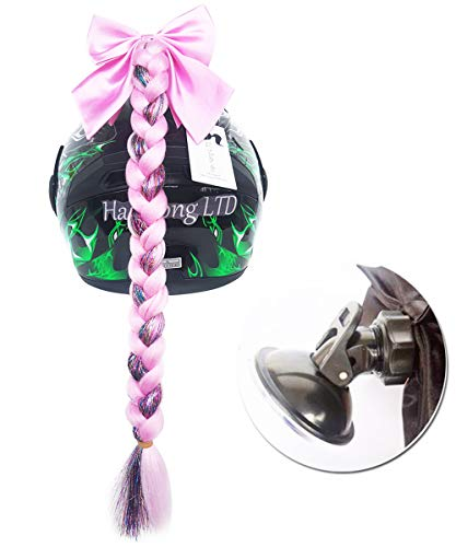(Helmet Hair Helmet Pigtails Gradient Ramp Helmet Braids Ponytail with Suction Cup with Bowknot for Motorcycle Bike 1PCS 24inch-Pink mixed Colorful Bars)