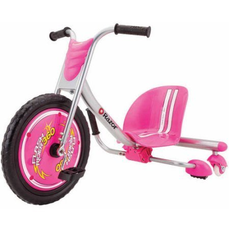 Razor 360 FlashRider Sparking kids Toys Ride on Trike Tricycle with Hi impact Front Wheel with Flat free Tire Pink (Pink)