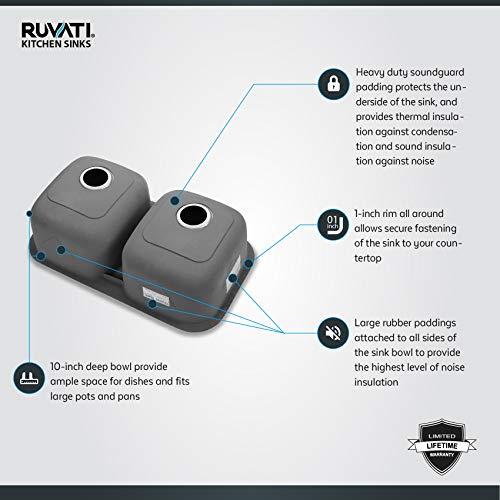 Ruvati 32-inch Undermount 50/50 Double Bowl 16 Gauge Stainless Steel Kitchen Sink - RVM4300 by Ruvati (Image #4)