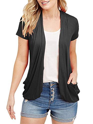 Tunic Cardigan Collar (Uniboutique Women's Black Open Front Short Sleeve Turn-Down Collar Summer Casual Cardigans)