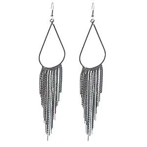 Tassel Fringe Earring 70's Retro Alloy Metal Long Hoop Earrings Ancient Black for Women