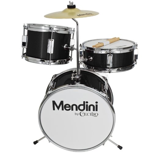 Mendini by Cecilio 13 inch 3-Piece Kids/Junior Drum Set with Throne, Cymbal, Pedal & Drumsticks, Metallic Black, MJDS-1-BK by Mendini