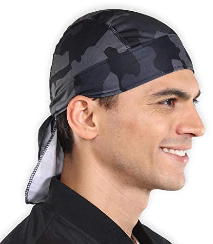 (Sweat Wicking Cooling Helmet Liner - Do Rag Skull Cap Beanie for Men & Women. Pirate Hat Bandana & Head Wrap for Motorcycling, Running, Hiking, Cooking & Outdoor Activities. Stretchy)