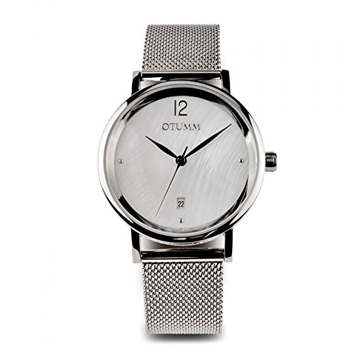 Otumm Mesh Señora Acero Calendario MOP 36mm MELCM02 Unisex Mesh Reloj: Amazon.es: Relojes