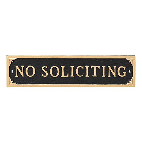 Montague Metal Products No Soliciting Statement Plaque Sign, Black with Gold Lettering, 11'' x 2.75 by Montague Metal Products