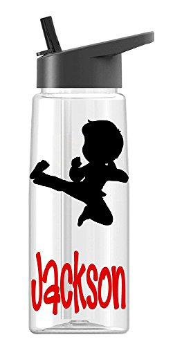 Personalized Sport Water Bottle Karate, Martial Arts (Male) Design with Name BPA Free 26 oz, Clear or Colored Bottle, Polka dots
