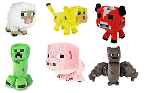 Minecraft Animal Plush Set of 6. Sheep, Bat, Ocelot, Mooshroom, Pig, Creeper. 6- 8 Inches
