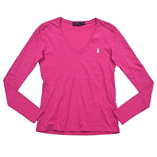 RALPH LAUREN Womens Long Sleeve V Neck Jersey Tee (Large, Pink/White - Pink Ralph