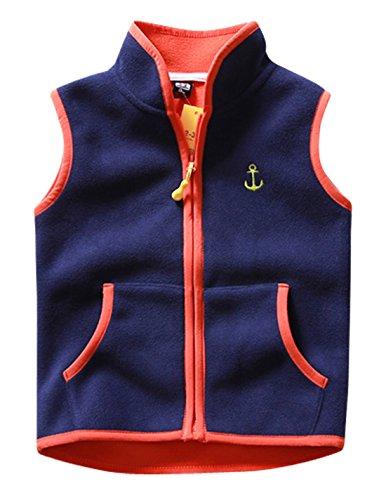 Aivtalk Baby Girls Fleece Vest Embroidered Anchor Zipper Up Waistcoat Sleevelss Coat 2-3T Navy ()