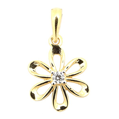 Beauniq 14k Yellow Gold Cubic Zirconia Small Flower Daisy Pendant Necklace
