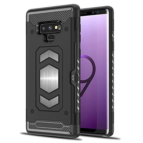Galaxy Note 9 Case: Full Body Armor Note 9 Case: Samsung Galaxy Note 9 with Card Holder- Magnetic car Mount (Black- Note 9)