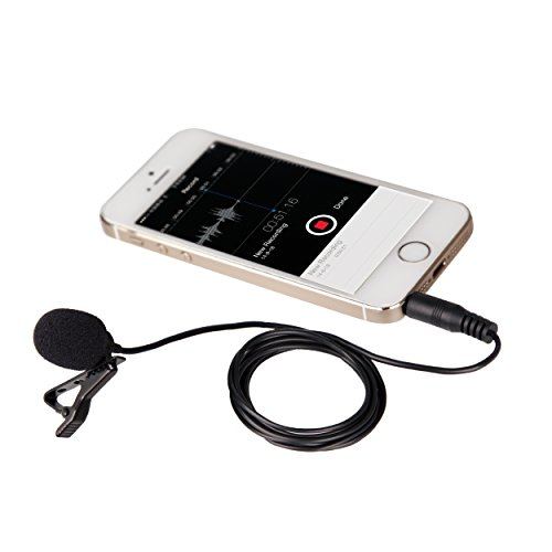 Movo PM10 Deluxe Lavalier Lapel Clip-on Omnidirectional Condenser Microphone for Apple iPhone iPad iPod Touch Android and Windows Smartphones