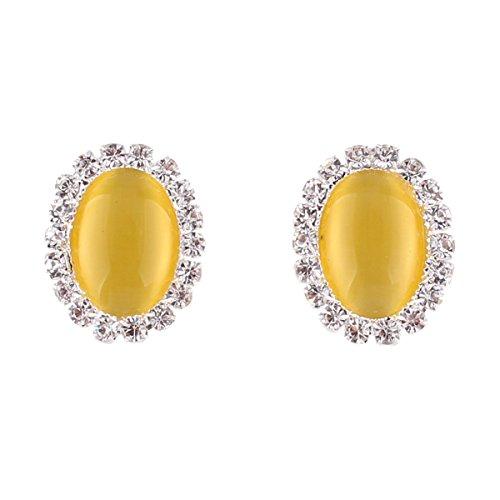 Bridal Rhinestone Opal Oval Shape Clip on Earrings for Women Charm Jewelry No Hole Ear Clip (Yellow) ()