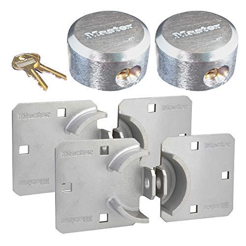 Master Lock - Hasp / Hidden Shackle (2) Keyed Alike Padlocks 770-6271NKA-2 w/ BumpStop Technology (Cylinder Padlock Removable)