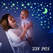 Glow in The Dark Stars,CAMTOA Wall Stickers Glowing Stars and Moon for Ceiling or Room Decor,Luminous Adhesive