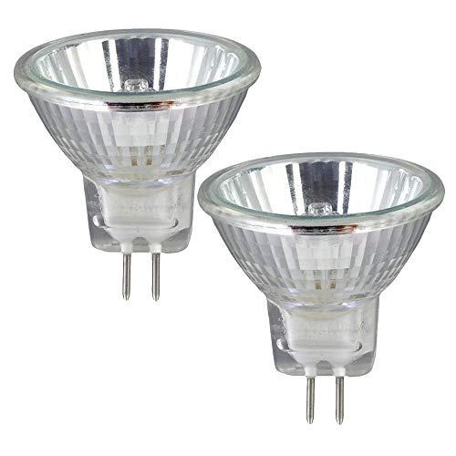 2 Pack Clear MR11 12Volt 20Watt G4 Bi-Pin Base, Precision Halogen Reflector Fiber Optic Light Bulb 20W 12V Halogen Bulb With UV Glass Cover, Halogen Flood Light Bulb Warm White -