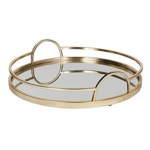 Kate and Laurel Naples Gold Metal Mirrored Round Decorative Tray (Round Tray For Ottoman)