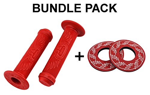 SE Bikes Wing Grips Bundle 2 Items: SE Wing Grips with SE Wing Donuts (Red)
