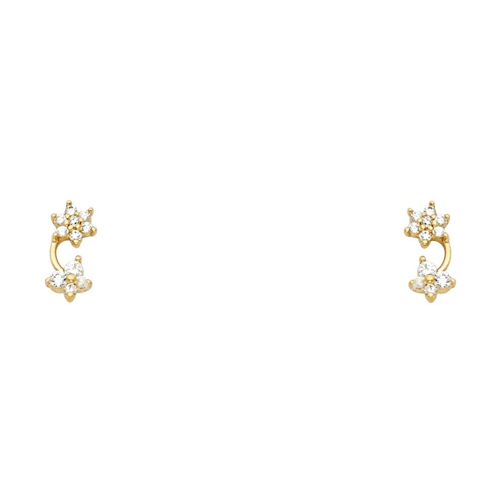 Wellingsale 14K Yellow Gold Polished Stud Earrings With Screw Back