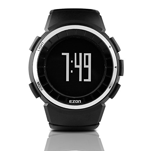 EZON T029B01 Men's Sports Running Digital Casual Watches with Pedometer Calorie Counter Stopwatch Waterproof Wristwatch Black