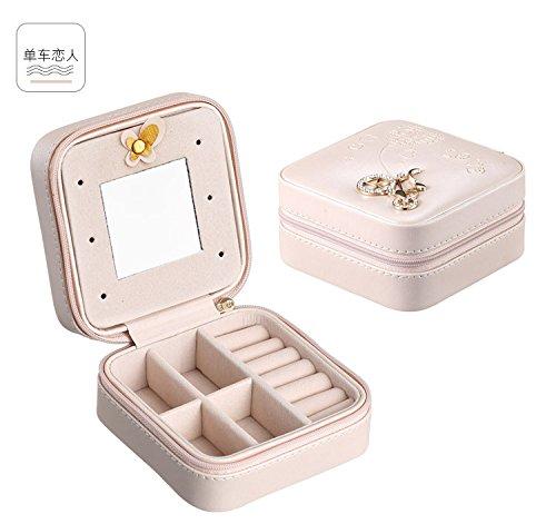 shiguangyinji Creative Small Jewelry Box Portable Travel Jewelry Jewelry Box Serpentine Leather Earrings Storage Box 10 x 10 x 5.5cm Bare Powder - Leather Serpentine
