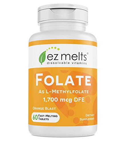 EZ Melts Folate as L-5-Methylfolate, 1,700 mcg DFE, Sublingual Vitamins, Vegan, Zero Sugar, Natural Orange Flavor, 60 Fast Dissolve Tablets