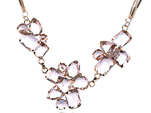 - Alilang Golden Tone Triple Strand Ice Cube Chunky Iceberg Faceted Crystal Gem Necklace