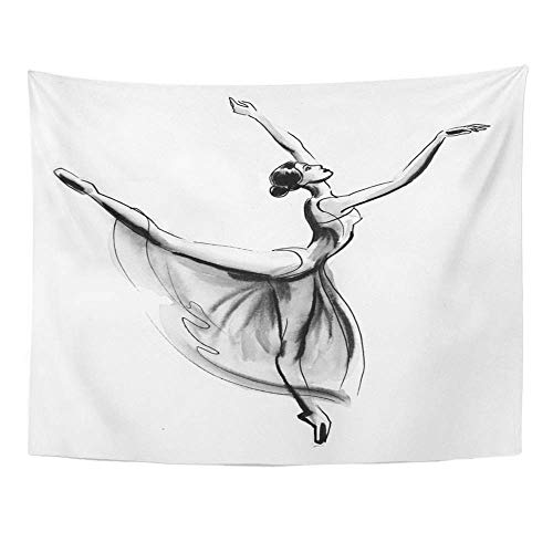 SPXUBZ Wall Tapestry Watercolor Dance Dancing Ballerina Ink Black and White Ballet Beautiful Beauty Wall Hanging Decoration Soft Fabric Tapestry Perfect Print for House Rooms