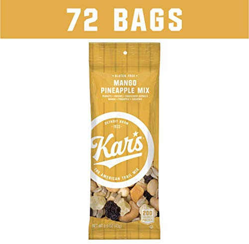 Kar's Nuts Mango Pineapple Trail Mix Snacks - Bulk Pack of 1.5 oz Individual Single Serve Bags (Pack of 72) ()