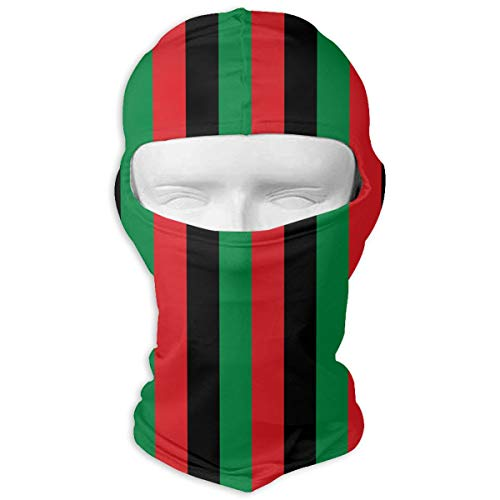 Wind-Resistant Balaclava Hood, Red Black Green Vertical African Flag Cold Weather Face Mask for Skateboard (Red Face Cold Weather)