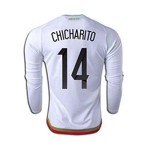 専門化する確かなスポンサーadidas Chicharito #14 Mexico Away Soccer Jersey 2015 -Long Sleeve (Authentic name and number of player)/サッカーユニフォーム メキシコ アウェイ用 チチャリート 背番号14 長袖 2015