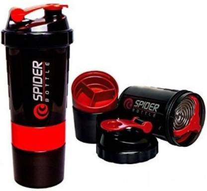 JAYBEE Spider Protein Shaker for Gym - 500 ml 2021 August Leak proof, storage container, pill container, water bottle plus shaker for preparation and saving time Have multiple compartments for storing multiple food items. The upper blue-colored compartment is for storing nutritional supplements, vitamins, fruits and so on while the bottom compartment holds 70 grams of powder. Blender ball wire whisk mixes as you shake