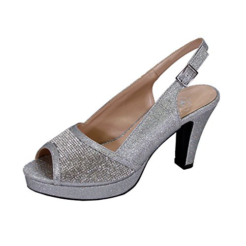 discount for sale Floral Nadia Women Wide Width Rhinestone Studded Peep-Toe Platform Slingback (Measurement Chart Available Silver low shipping sale online lowest price online cheap sale Cheapest cheap eastbay OrnE48f