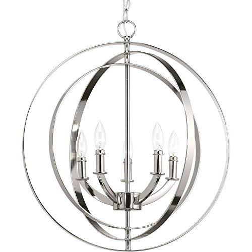 Progress Lighting P3841-104 Equinox Five-Light Sphere Lantern, Polished Nickel