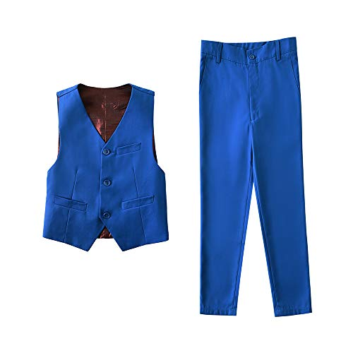 Blue Formal Dress Vest and Pants Toddler Kids Wedding Size 4T ()
