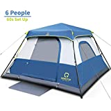 OT QOMOTOP Camping Tent, 4/6/8/10 Person 60 Seconds Set Up, Waterproof Tent with Top Rainfly, Instant Cabin Tent, Advanced Venting Design, Provide Gate Mat, Temporary Isolation Tent