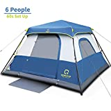 QOMOTOP 6 People Fast 60 Seconds Easy Set Up Instant Cabin Tent, Camping Tent, Provide Top Rainfly, Waterproof Tent Advanced Venting Design, with Electrical Cord Access Port and Gate Mat
