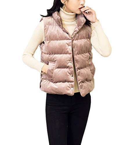 Only Faith Women Gold Velvet Sleeveless Thicken Vest Korean Style Standing Collar Cotton Short Coat (Pink, 2XL) (Korean Style Standing Collar)