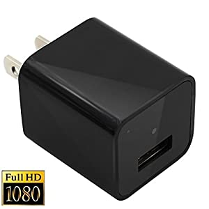 Hidden Camera Adapter HD 1080P Spy Camera USB Wall Charger Nanny Cam, Built-in 8G Memory Mini Video Camera For Home Security