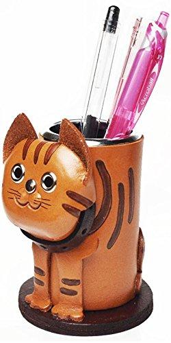 Cat Tabby Genuine Leather Animal Pen/Pencil Holder/CupVANCA Handmade in Japan by Vanca.com