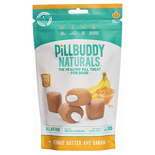 Pill Buddy Naturals, Peanut Butter & Banana Recipe for Dogs, 1 Pack, 30-Count (Peanut Butter And Banana Dog Treats Recipe)