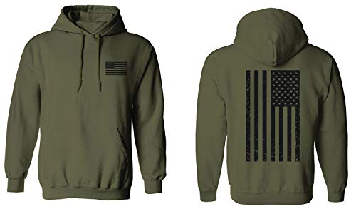 Vintage American Flag United States of America Military Army Marine us Navy USA Hoodie (Olive, X-Large) ()