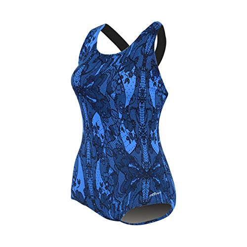 Dolfin Women's Conservative ONE-Piece Lap Swimsuit Blue Lacey Size 12