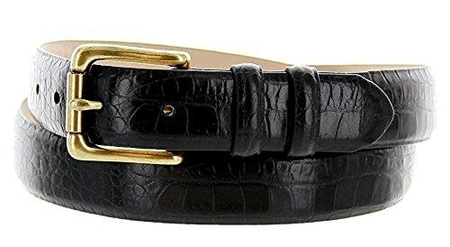 Belt Skinny Leather Calf (Hagora Men Real Italian Calfskin Eclectic Skin Textures 1-1/8