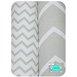 Baby Crib Sheets, Toddler Bedding Sheets by LANCON Kids - 2 Pack of Ultra Soft, Premium 100% Jersey Knit Cotton Fitted Sheets (Gray & White Chevron)