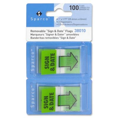 SPR38010 - Sparco Sign Date Preprinted Flags in Dispenser