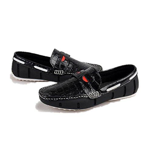 Cuero cocodrilo Negro los Casuales de Zapatos Hombres Cuero de Verano de de Zapatos de zp5fPOqw