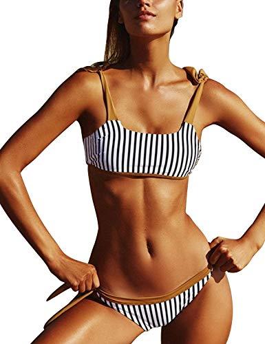 Blooming Jelly Womens Two Piece Swimsuits Tie Knot Padded Push Up Brazilian Thong Cheeky Bikini Set (Large, Striped#)
