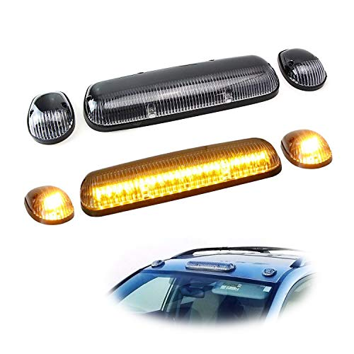 - iJDMTOY 3pc-Set Clear Lens Cab Roof Top Marker Running Lamps w/Amber LED Lights For Truck Pickup 4x4 SUV