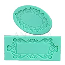Anyana 2pcs PHoto Frames Mirror Silicone Mould Ornate Vintage fondant CAKE cupcake mold